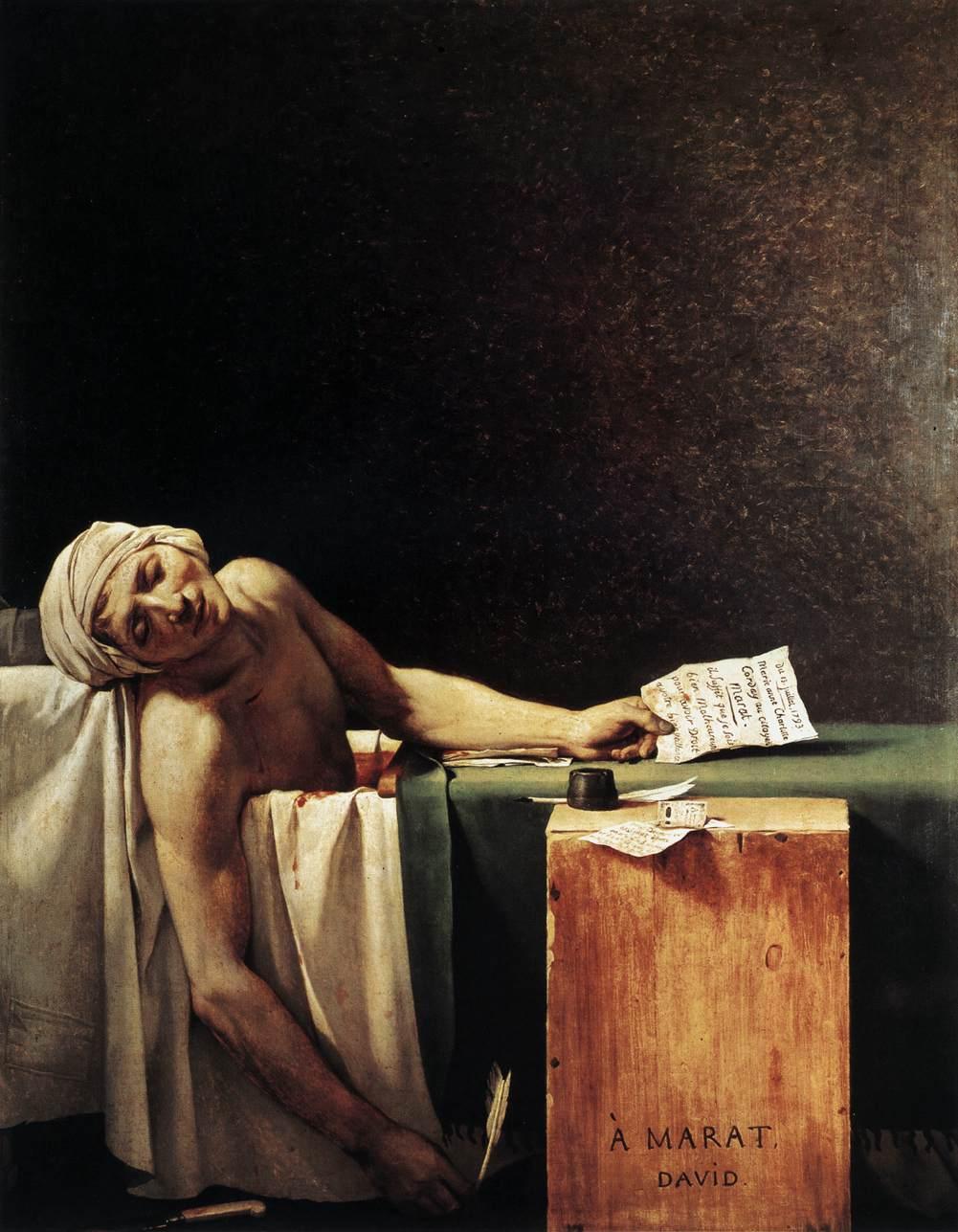 La Morte di Marat (1793), olio su tela, di Jacques-Louis David