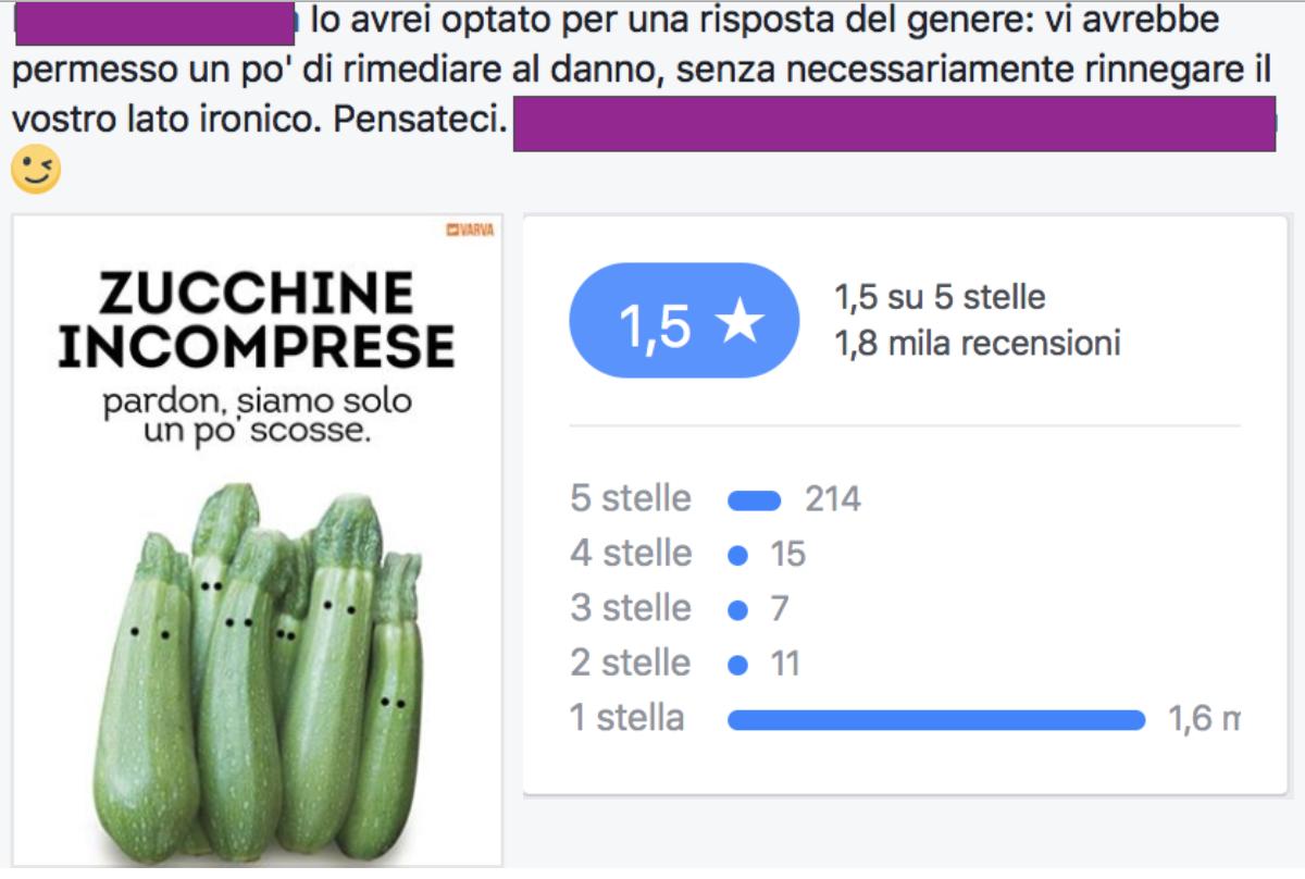 I commenti e le recensioni sulla pagina Facebook di Piovono Zucchine