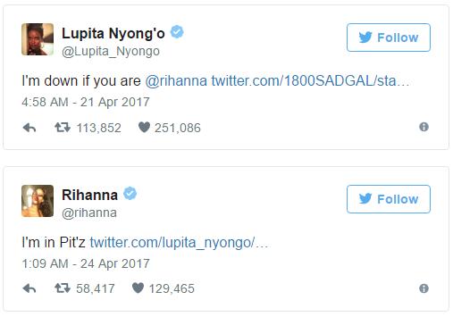 Le reazioni di Lupita Nyong'o e Rihanna su Twitter.