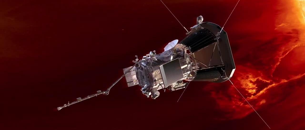 Rendering della sonda Parker in prossimità del Sole