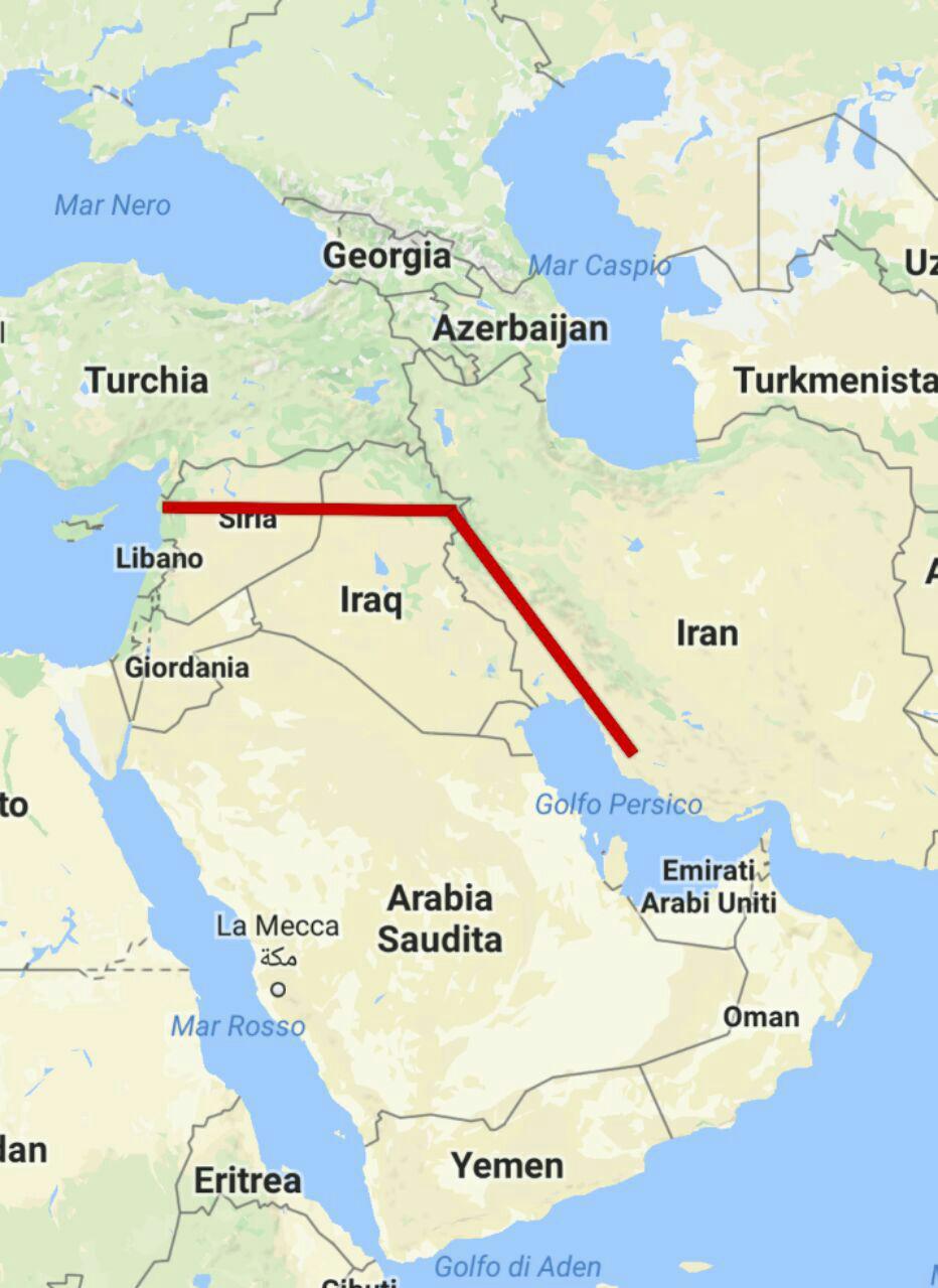 Il percorso dell'IGP tra Iran, Iraq e Siria. Nei piani di Asad tale gas sarebbe stato destinato principalmente al consumo esterno, ma potenzialmente esportabile