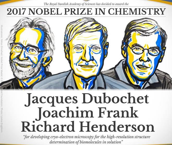 Gli assegnatari del Premio Nobel per la Chimica 2017: Jacques Dubochet, Joachim Frank e Richard Henderson